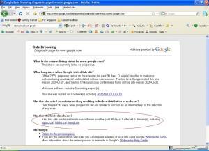 Google Malware Status
