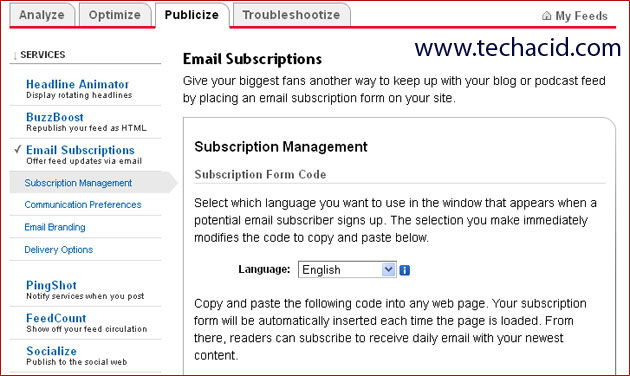 Manage Email Subscription through FeedBurner