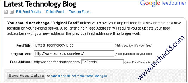 Feed Redirection and Transferring Feeds