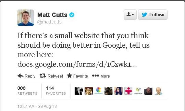 Matt Cutts Tweet on Small Website
