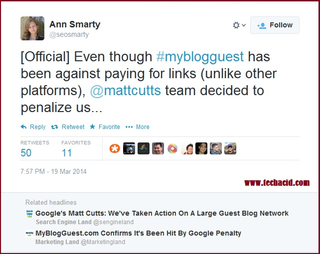Ann Smarty Tweet on MyBlogGuest Penalty - is Guest Blogging Dead?