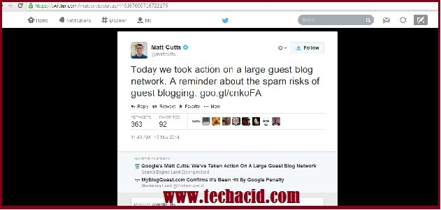 Matt Cutts Tweet on My Blog Guest - is Guest Blogging Dead?