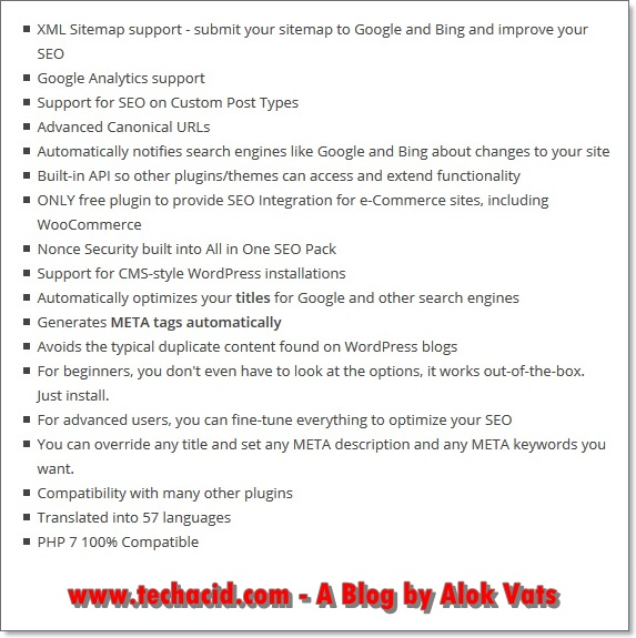 All in one seo features