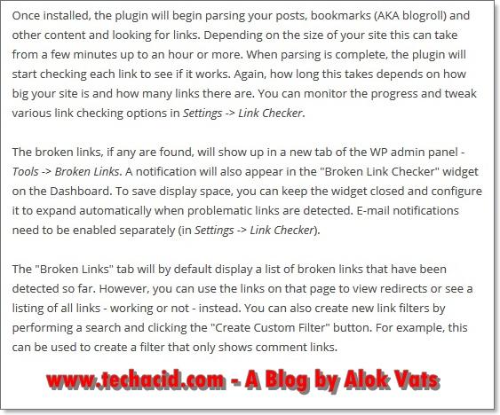 Broken Link Checker usage